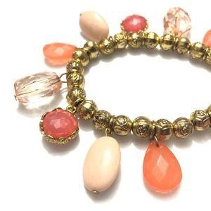 🌻Dangle Beads Bracelet Orange and Goldtone